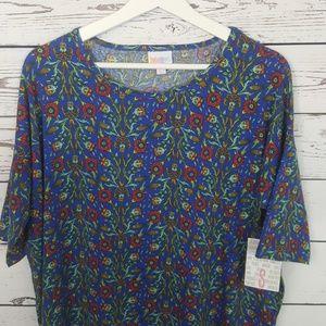 Lularoe Irma floral blue  shirt